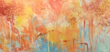 Autumn Fire 2014 Brusho and emulsion on calico 38 x 80 inches £1065 for original (already gallery-wrapped ready for display)